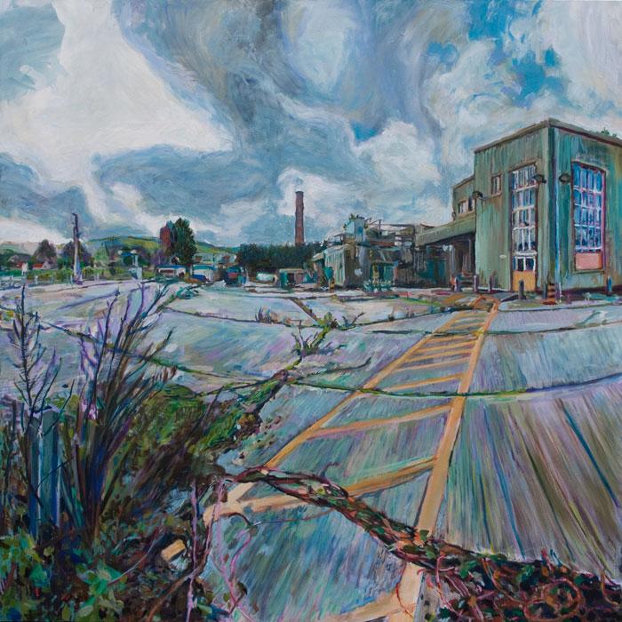 Oil Painting of the Old Milk Factory in Totnes by Noel Hefele