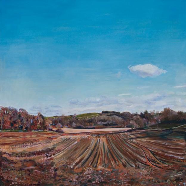 Oil Painting of a Harvested Field in Dartington by Noel Hefele