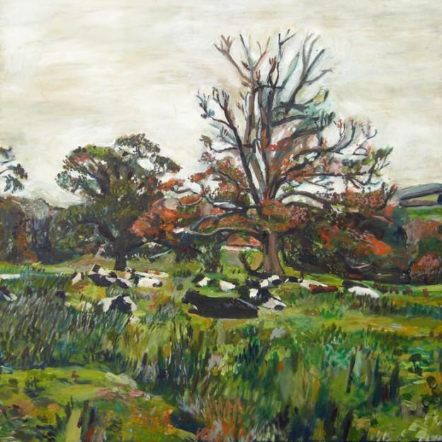 Oil painting of cows by Noel Hefele