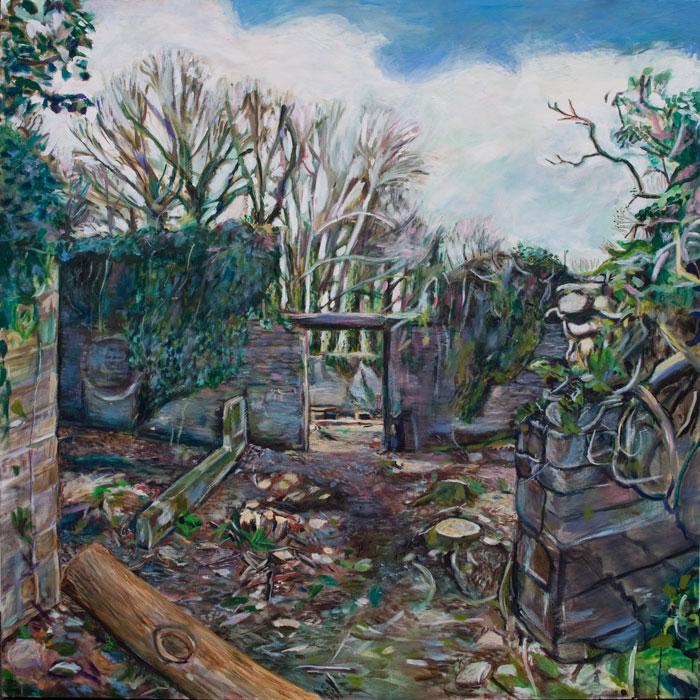 Oil Painting of Buckham's Park Barn on Dartington Estate, by Noel Hefele