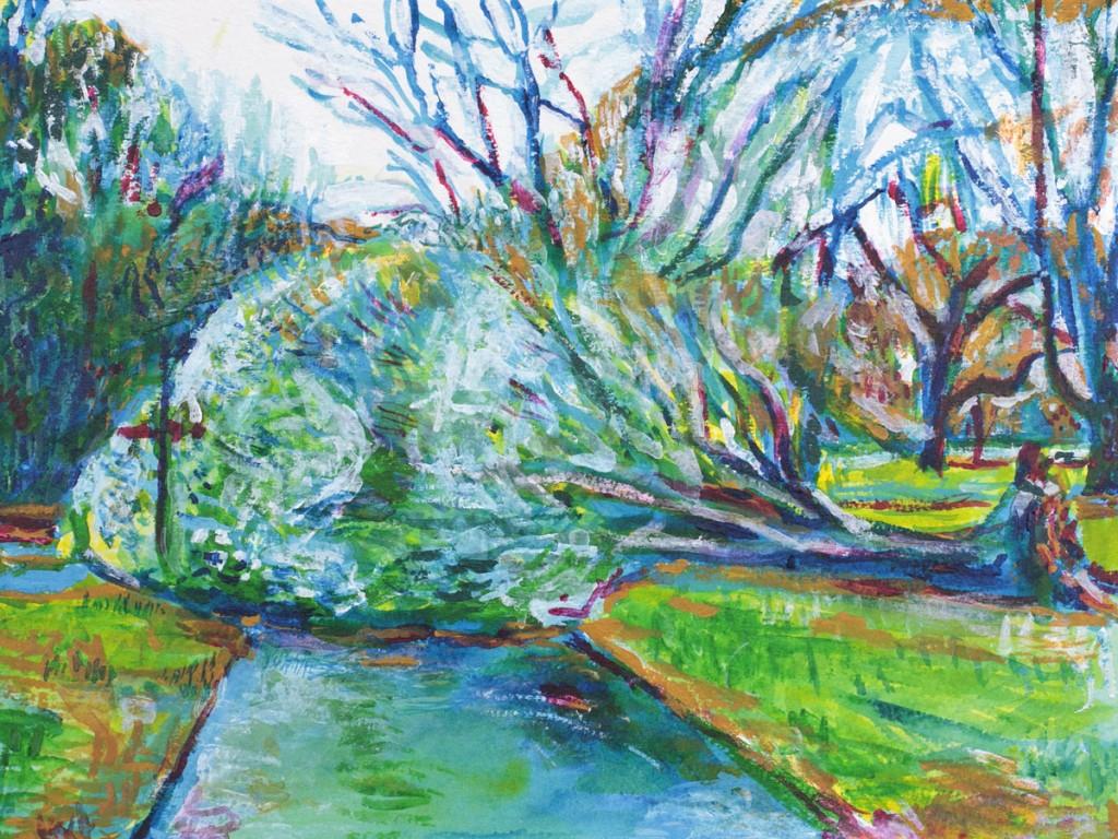 Fallen tree Acrylic Painting by Noel Hefele. Prospect Park