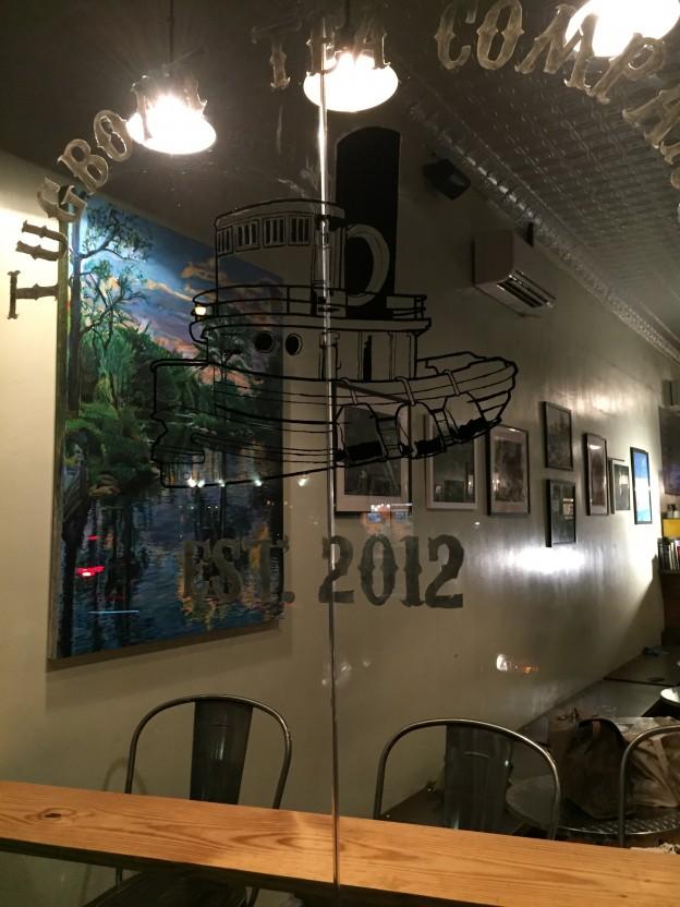 Noel Hefele painting at Tugboat Tea
