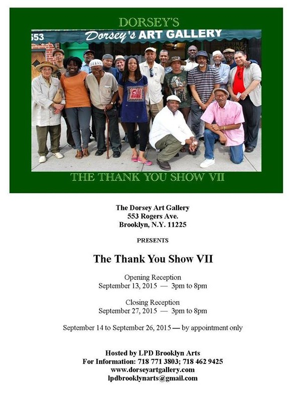 Announcment for an Artshow at Dorsey's Art Gallery