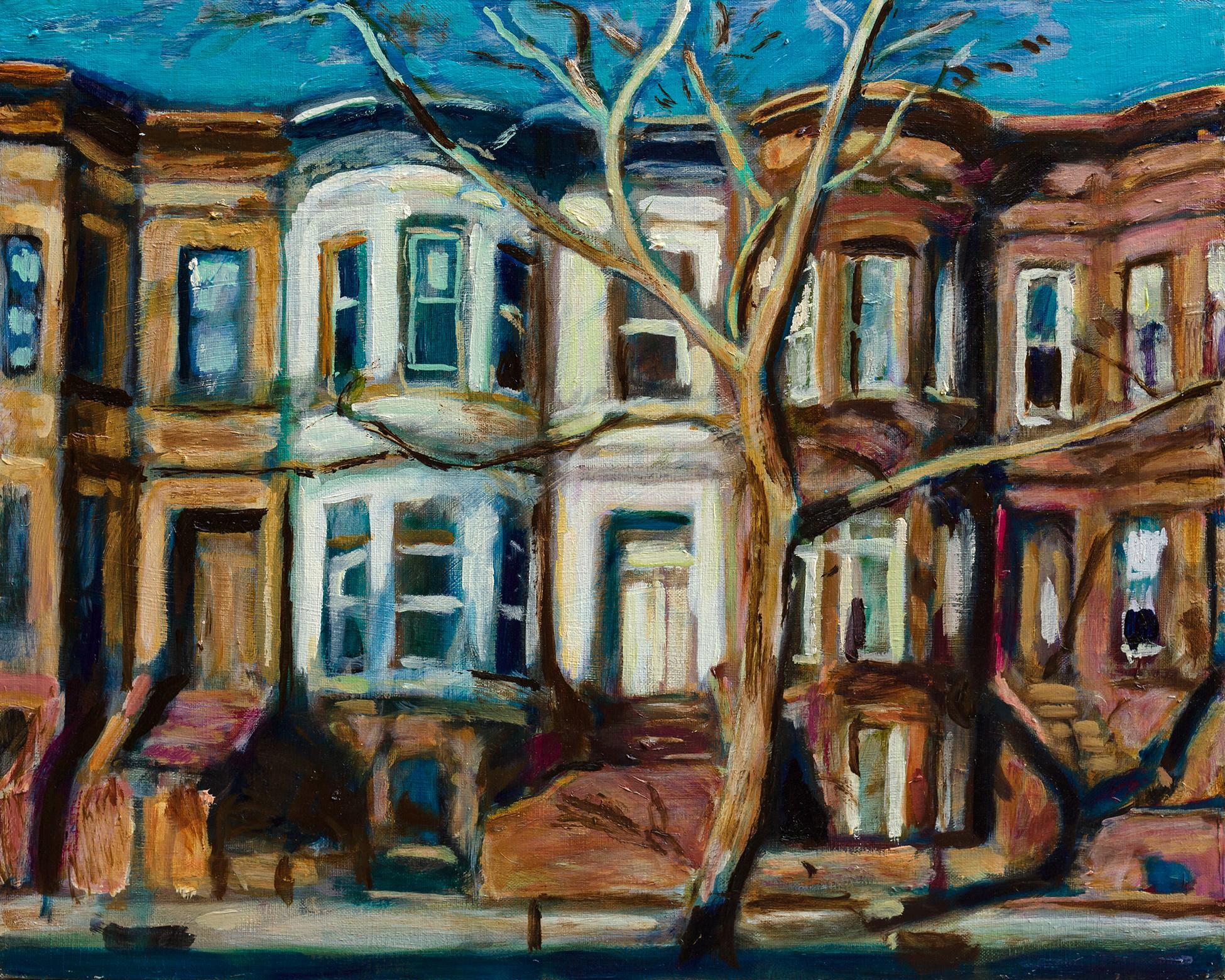 Painting of Brooklyn Brownstones by Noel Hefele