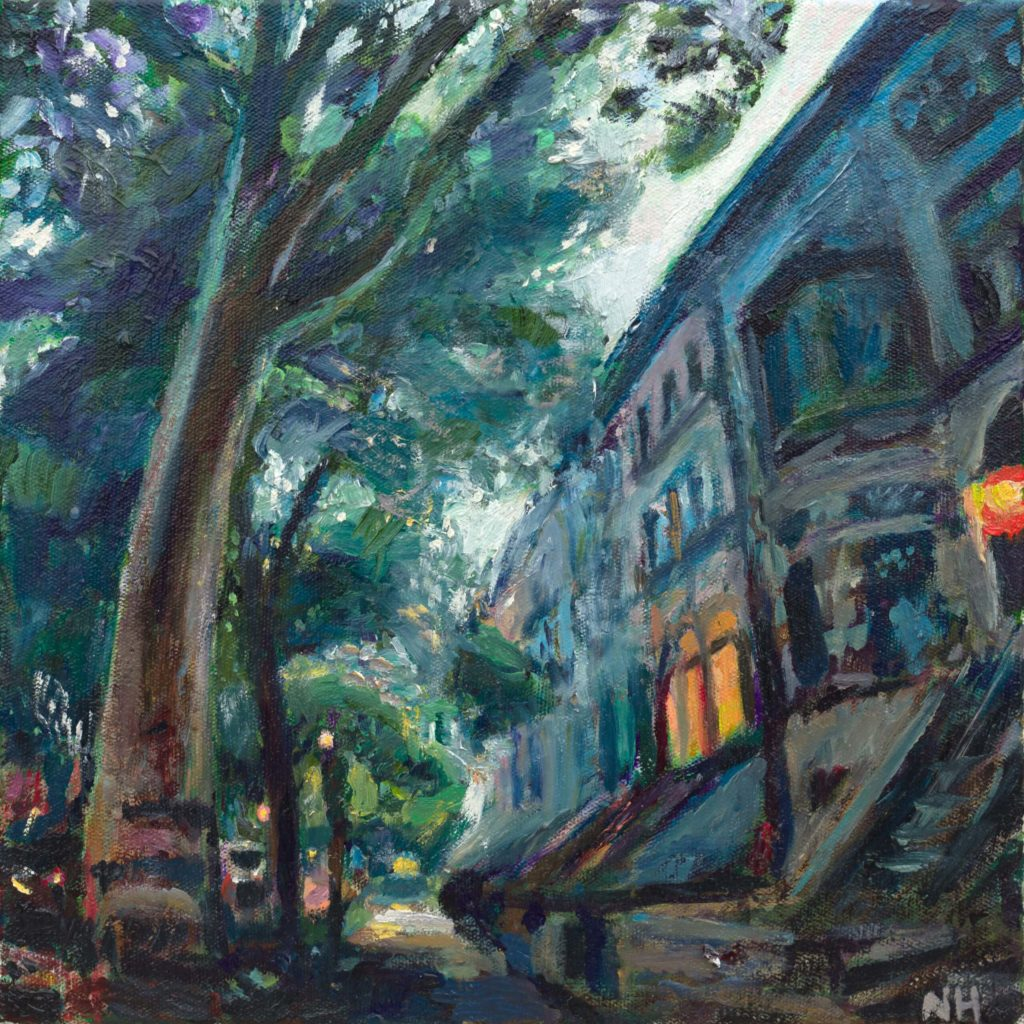 Oil painting of Brooklyn Brownstones by Noel Hefele