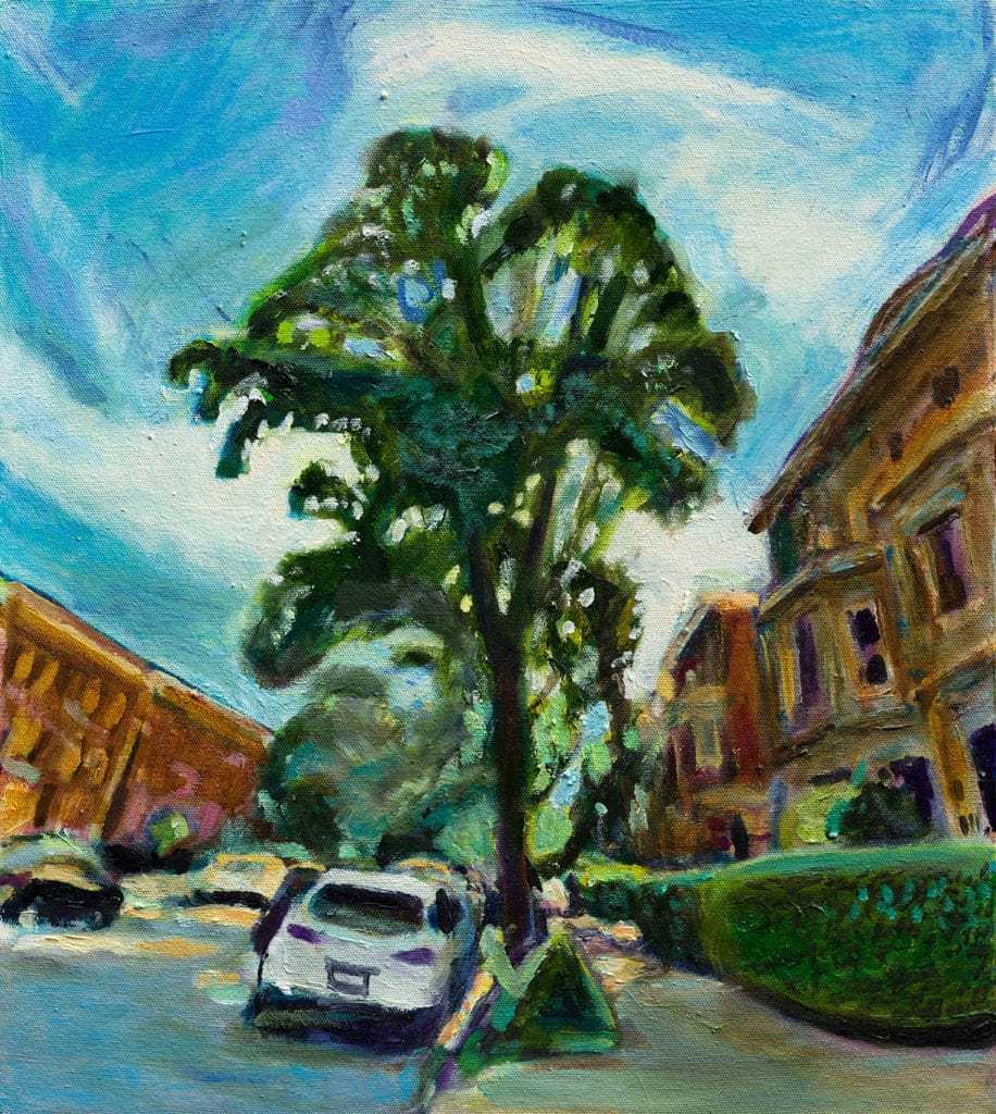 Oil painting of Midwood St by Noel Hefele