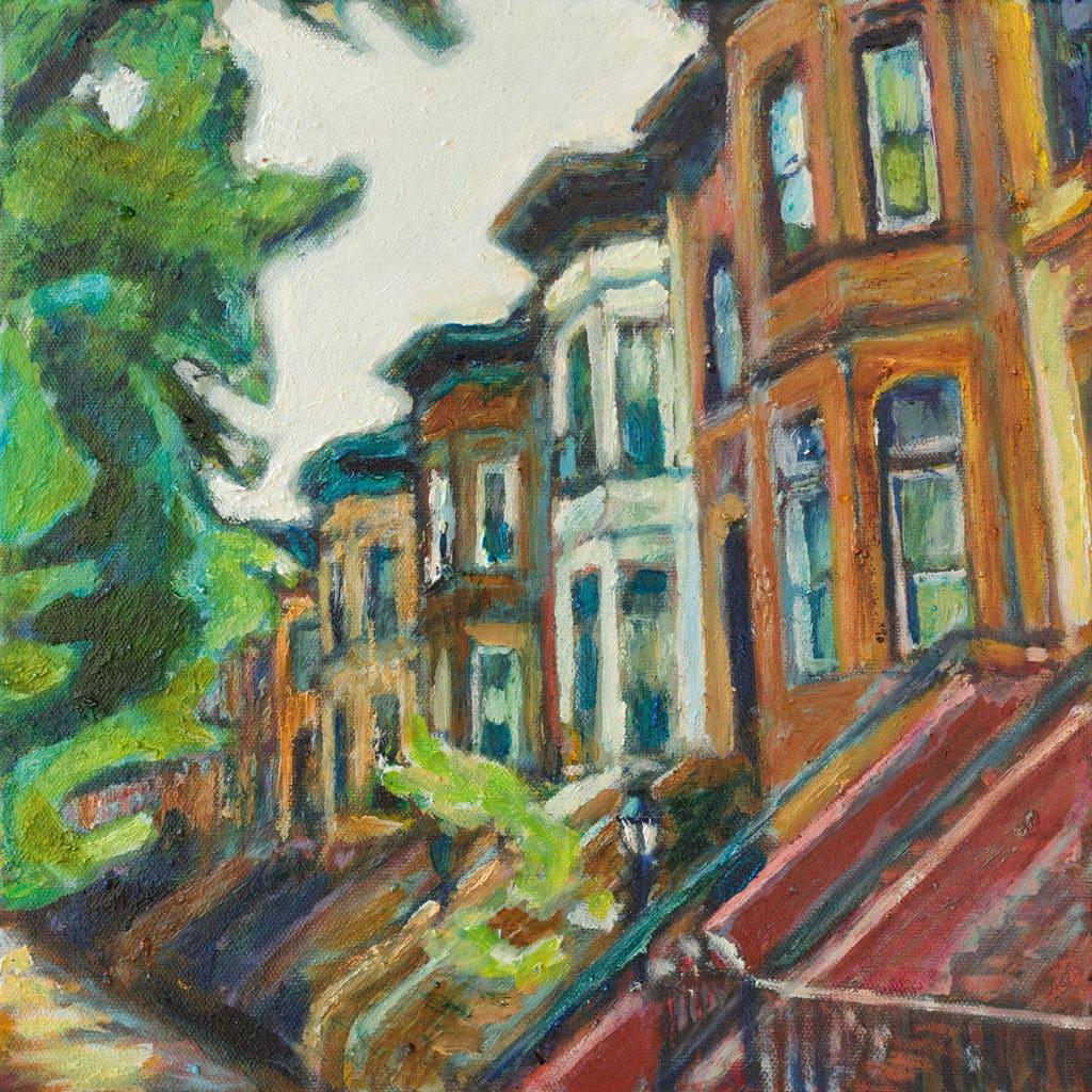 Oil painting of Rutland Road in Brooklyn NY by Noel Hefele