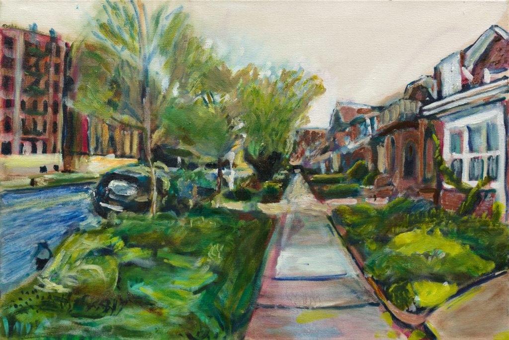 oil painting by noel hefele of lefferts avenue along the sidewalk