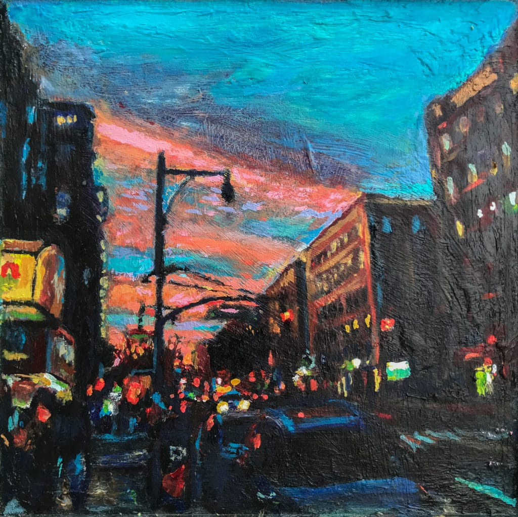 Oil Painting by Noel Hefele of the corner of Beekman and Flatbush Brooklyn at sunset