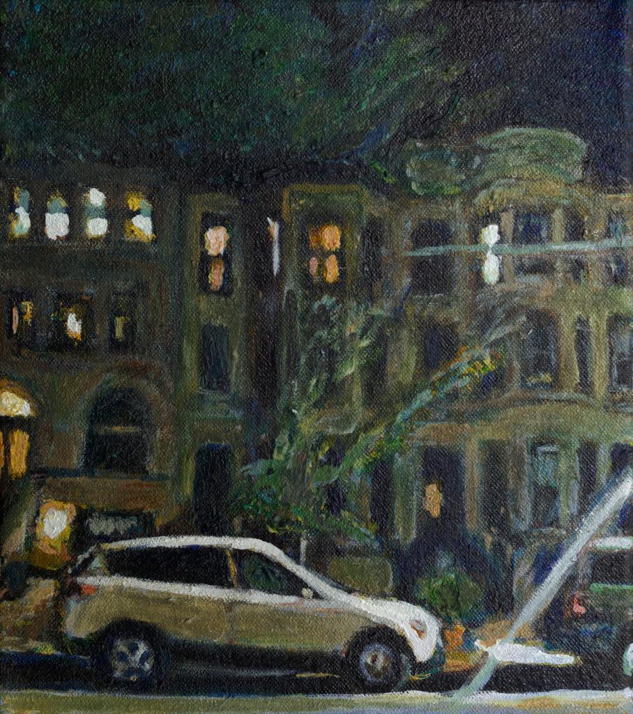 noel hefele oil painting of Midwood Street in Prospect Lefferts Gardens at night.