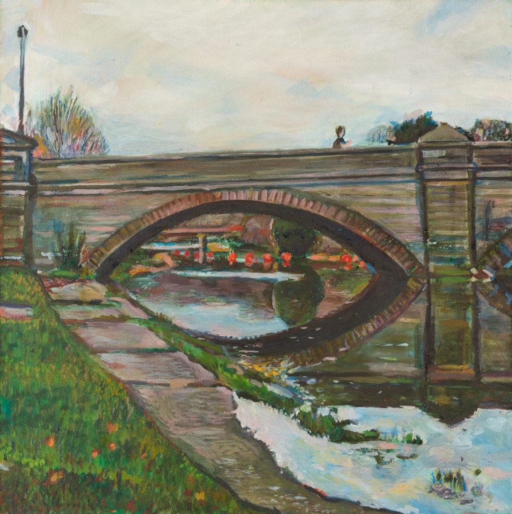 Oil painting of Totnes Bridge by Artist Noel Hefele