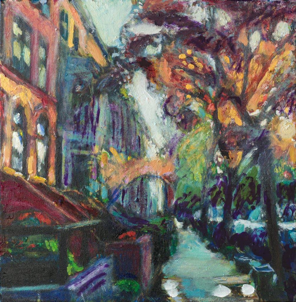 oil painting of midwood street in flatbush brooklyn by noel hefele
